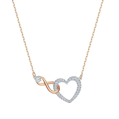 Collier Infinity Heart, blanc, finition mix de métal - Swarovski